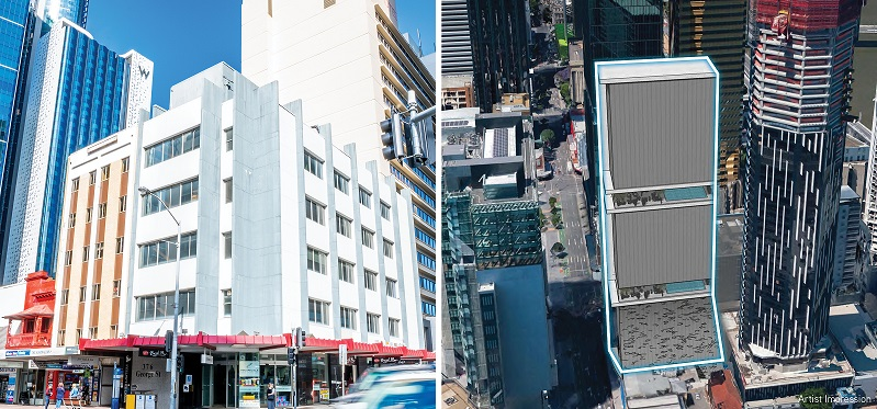 Images of 376 and 450 George Street featuring a white five-storey building on a corner block and another site, originally planned for development.