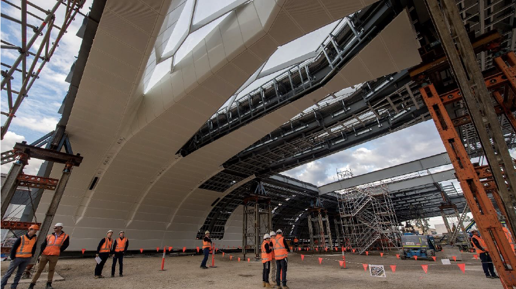 ▲ The new 2,240sq m span vaulted roof at Central Station. Image: Woods Bagot