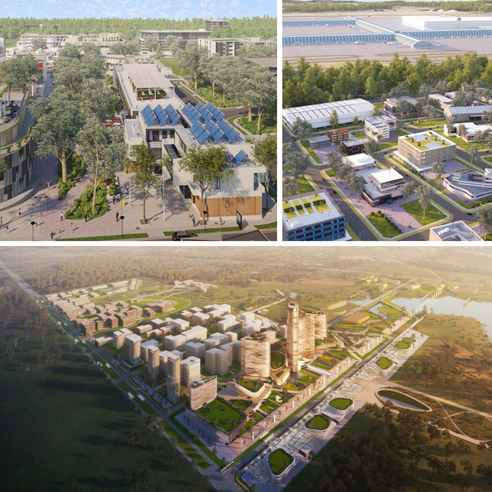 An indicative design for the town centre of the aerotropolis.