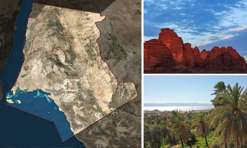 Three images: the land area for Neom, alongside a rocky mountain and palm-laden beach.