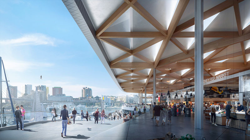 ▲ The fish market is located in the last part of the industrial harbour and will continue to be a functional fish market as well as a food and dining destination. Image: Infrastructure NSW