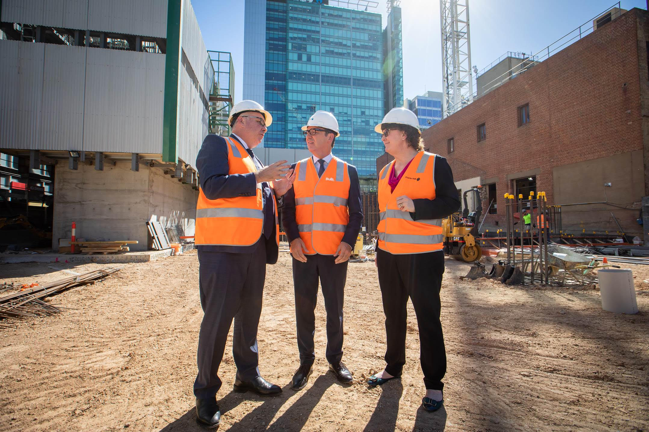 Charter Hall announced on Tuesday that mining giant BHP has committed to a 10-year lease at its GPO Exchange development. (Image: Andrew Borger, Head of Office Development Charter Hall; The Hon. Steven Marshall SA Premier; Jacqui McGill, Asset President Olympic Dam, BHP.