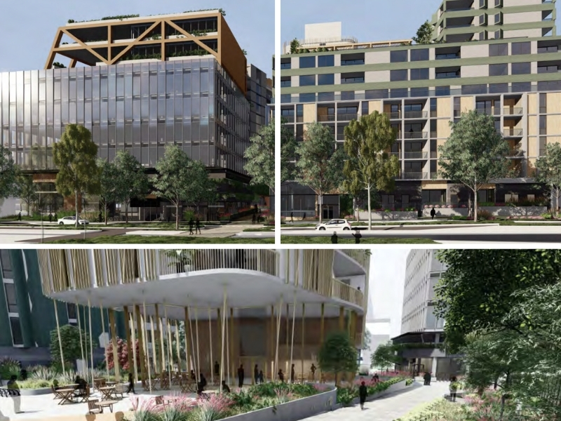 Mid image 800x600. Three composite images of a proposed midrise development in North Melbourne.