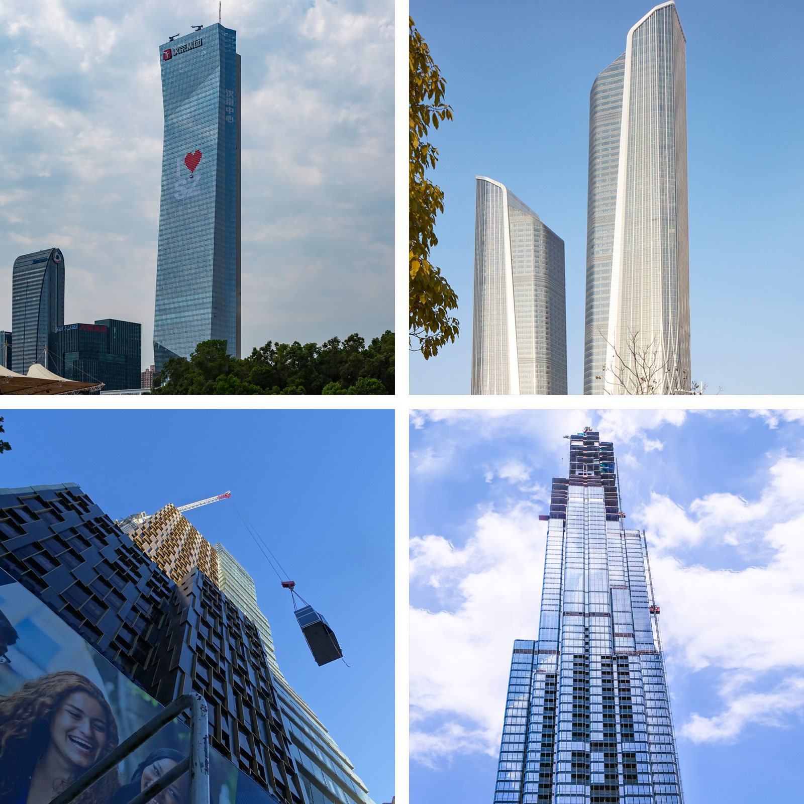 Hanking Center Tower - Shenzhen (top left), Jumeirah Nanjing Hotel - Nanjing (top right), La Trobe Street Student Accomodation - Melbourne (bottom left), Vincom Landmark 81 - Ho Chi Ming City (bottom right).