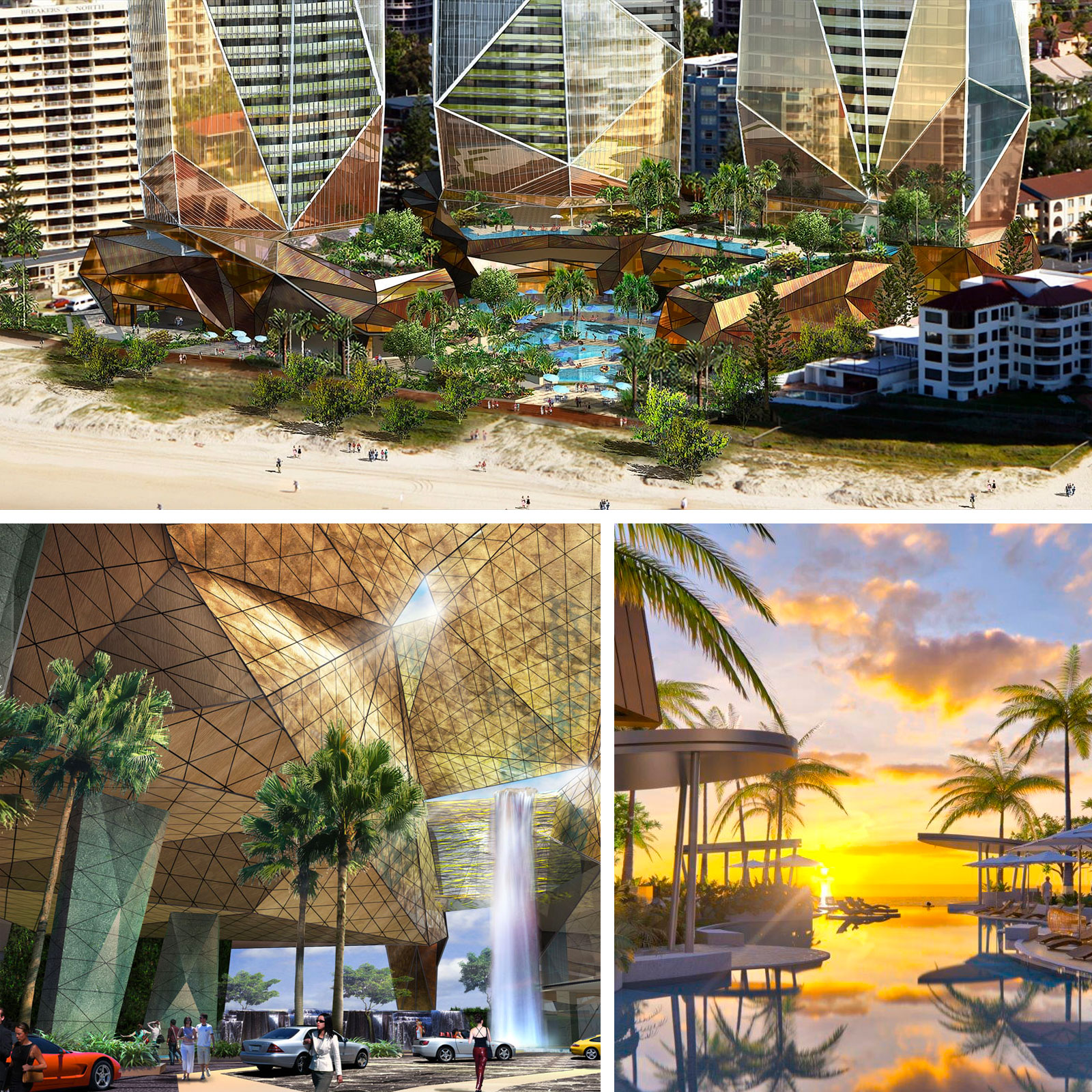 The five star hotel will be the centrepiece of tower two and feature a beach-side resort pool. The three Jewel towers will incorporate a selection of one, two, three and four-bedroom private residences.