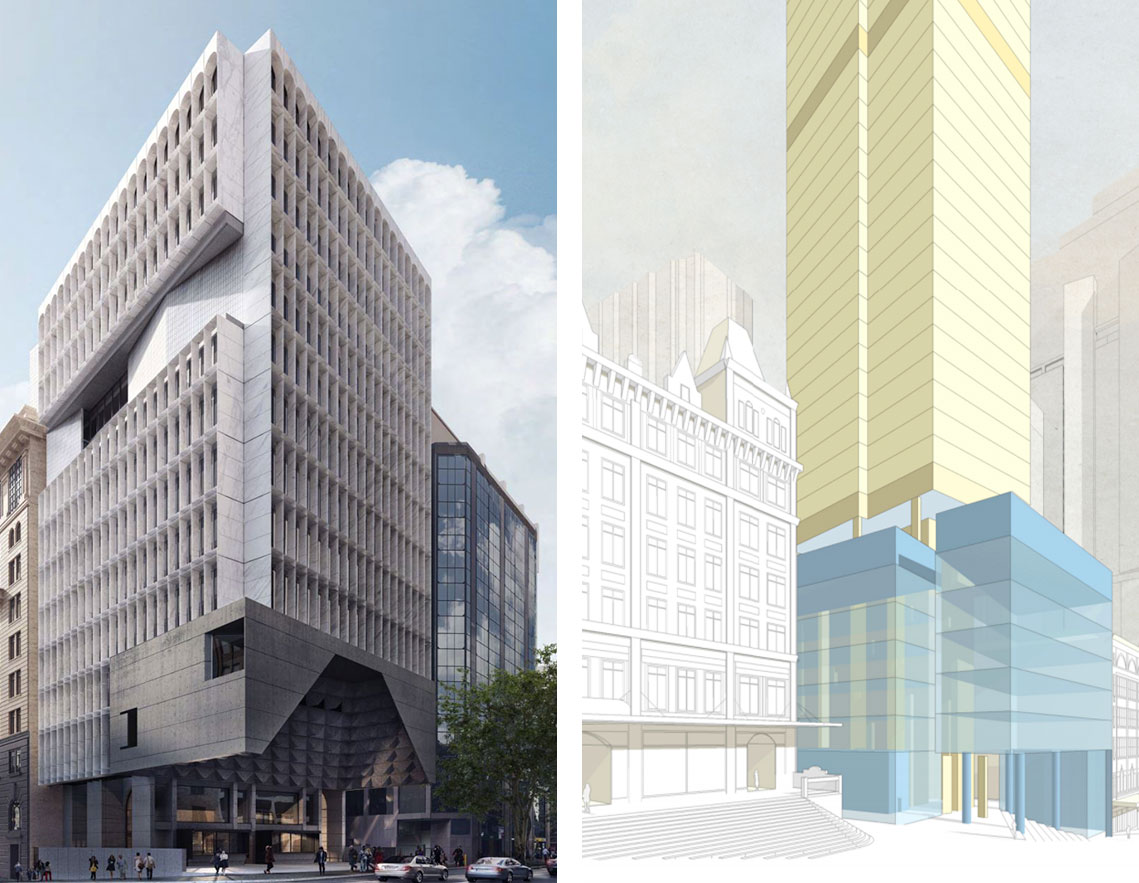 A recently submitted Candalepas architects proposal in George Street (left) displays the scalloped-design detail also featured in the Punchbowl mosque. The image (right) shows the indicative scheme and building envelope proposed for 133-141 Liverpool Street.