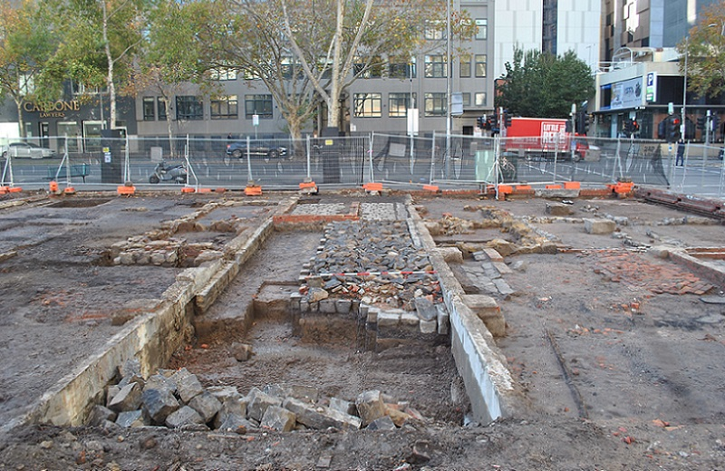 ▲The archaeological dig at 299 King Street, Melbourne had to be undertaken before construction on the Aspire Melbourne tower could begin.
