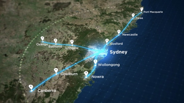 The State Government has identified four potential fast rail routes to and from Sydney that it says could slash journey times by up to 75 per cent.