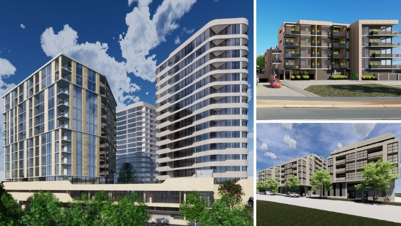 Three images of multi-level residential developments to be built in Canberra.