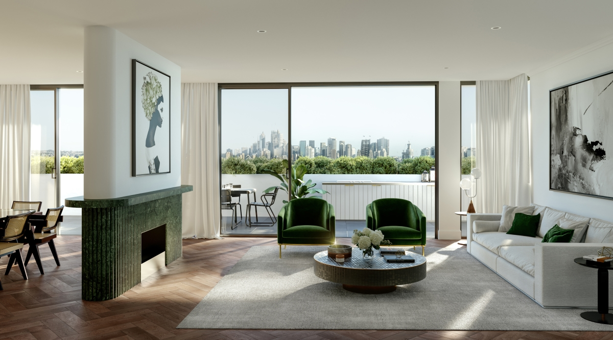 Penthouse levels capture breath-taking, sweeping views of the Sydney Harbour, City skyline and the iconic Harbour Bridge while the garden residences feature oversized landscaped courtyards and terraces.