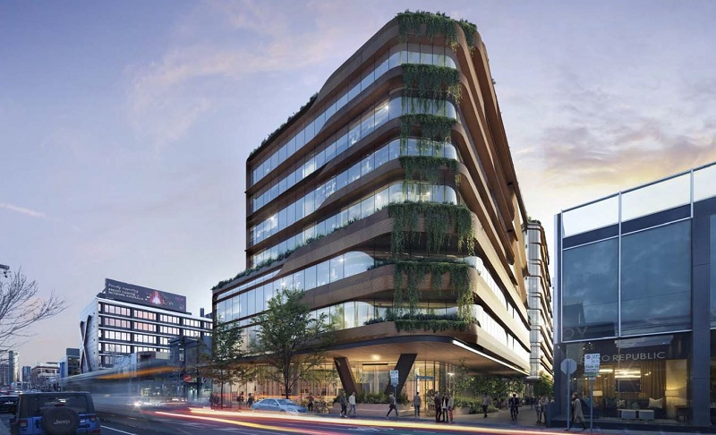 A render of the angular terraced office tower at 510 Church Street by Cox Architecture.