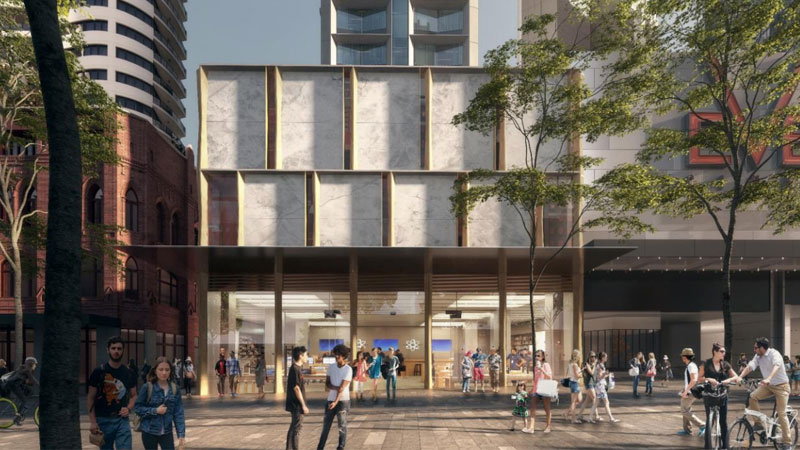 ▲On George St, the developer has proposed a retail podium with a new cinema complex lobby, while a residential entry will open onto Albion Place. Image: Candalepas Associates.