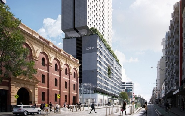 Scape's Swanston Street acquisition will be its fourth Melbourne site. Pictured: A renderings of Scape's Swanston Street project on the former Carlton and United breweries site.