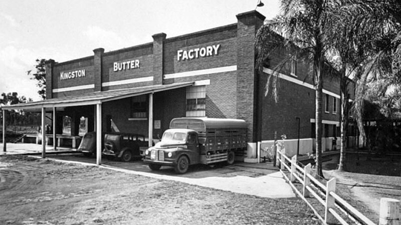 Archival image of the Kingston Butter Factory, which first opened in 1907, after a brick structure had been built around the old timber building in 1932-33.
