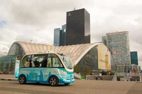 Autonomous shuttle testing takes place in La Défense, Paris, France.