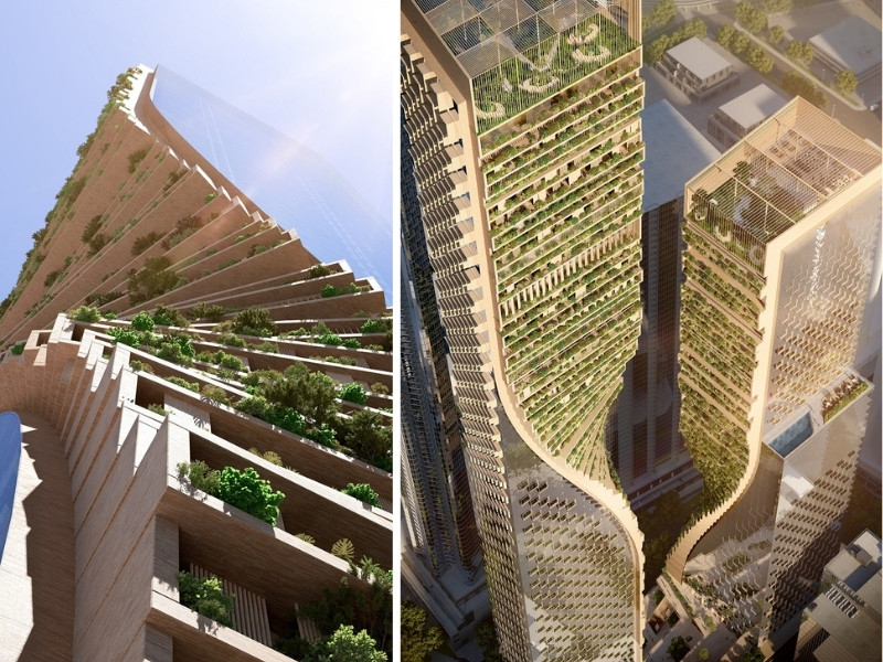 800x600 image of the world's tallest vertical gardens on Southbank by Beulah with its twisting landscaped facades to become a landmark in Melbourne.