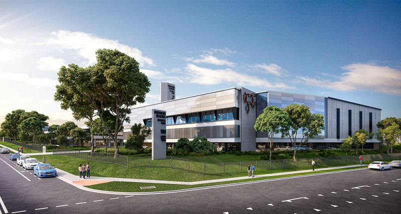 An artists impression Roche pharmaceutical building redevelopment in The Northern Beaches Business Park with self-storage facilities, commercial office space, a café, and 11 warehouse and distribution units.