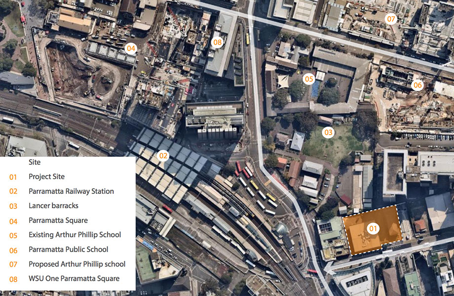 The project site is located at the eastern end of the Parramatta CBD  at 2b-6 Hassall Street.