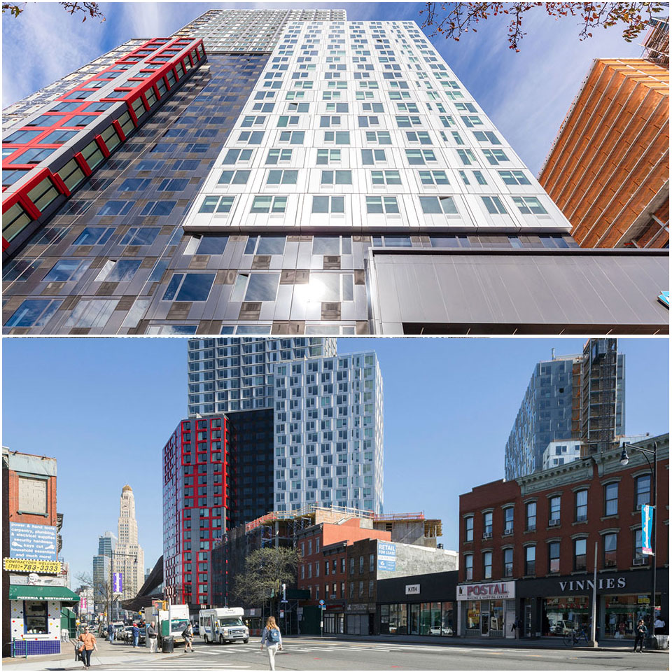 B2 in central Brooklyn, a 32-story modular high-rise designed by SHoP Architects and built by New York developer Forest City Ratner Corporation, was the tallest modular residential building in the world when completed in 2016.