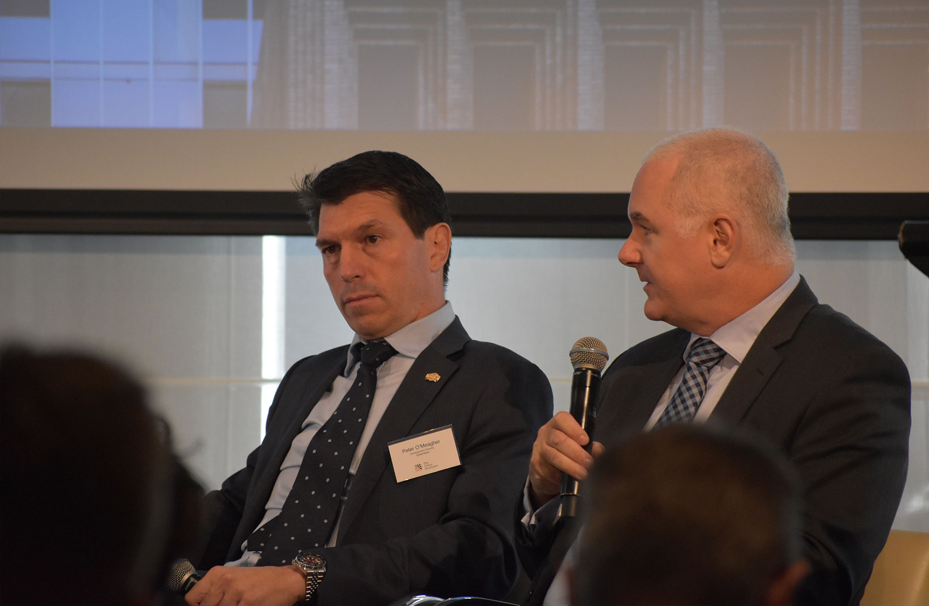 Greenland development director Peter O'Meagher and Corelogic head of research Tim Lawless Speaking at this year's residential property summit held by The Urban Developer in Sydney on Friday.