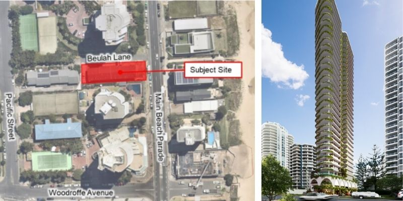 ▲ Gold Coast development. Polites Property Group and Descon Group Australia have lodged a development application for a Archideom designed tower at 3580 Main Beach Parade, Main Beach.
