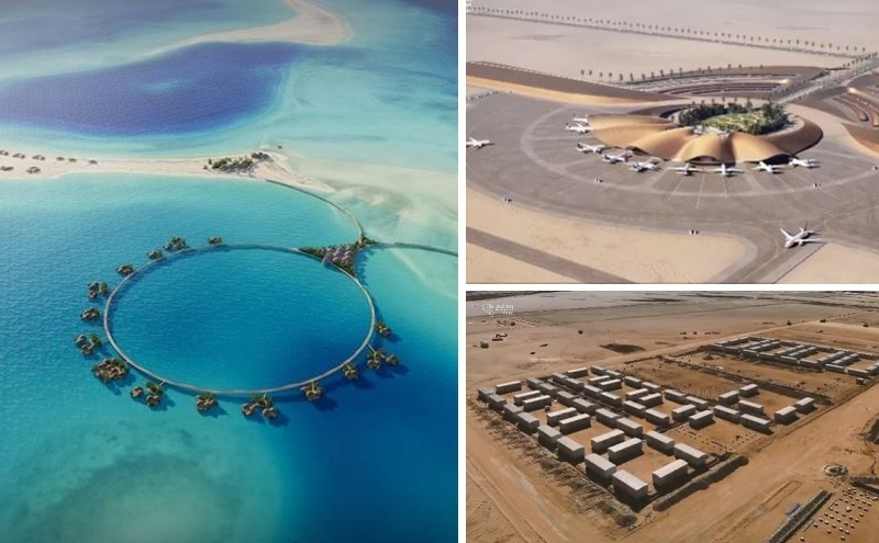 Artists' impressions of the Red Sea Project accommodation and airport as well as the cabins for construction workers.