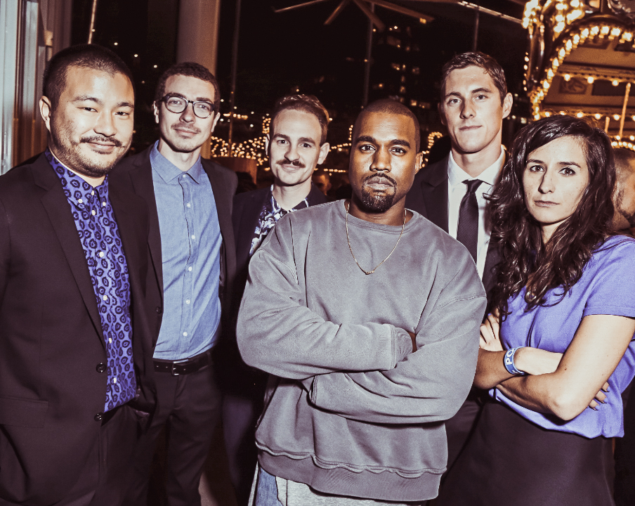 From left to right: +POOL founders Dong-Ping Wong, Jeff Franklin and Archie Coates IV, musician Kanye West, Olympian Conor Dwyer, and +POOL founder Oana Stanescu. Photo: Matteo Prandoni