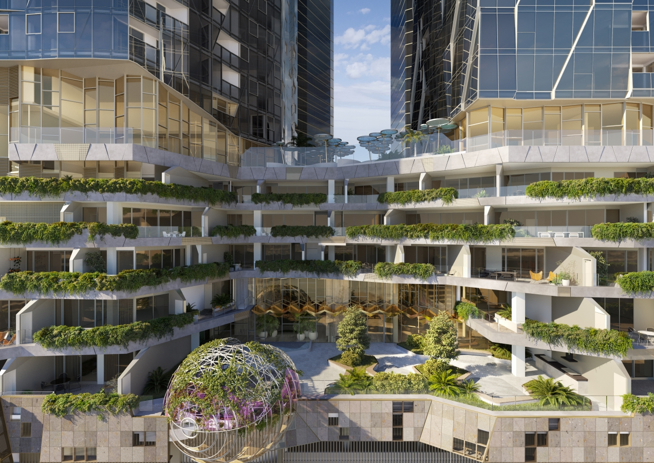 Residential podium apartments and landscaped recreation areas