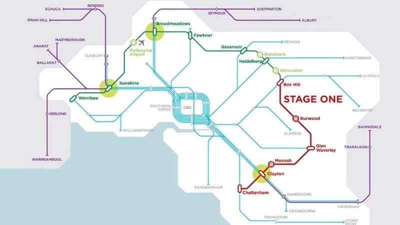 A map of Victoria's Suburban Rail Loop around Melbourne