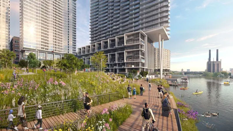 Southbank is a $2 billion, 1880-unit development in Chicago which Lendlease is working on with superannuation fund Aware Super.