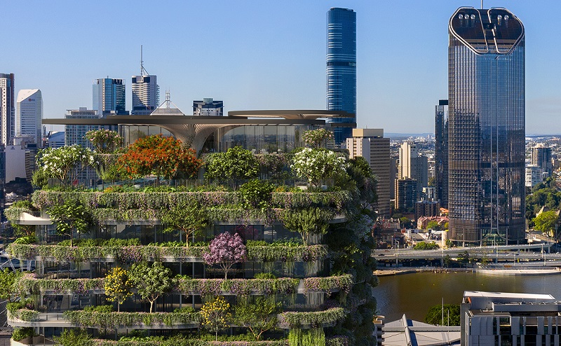 The Urban Forest is a 30-storey tower in South Bank with views to the Tower of Power at 1 William Street.