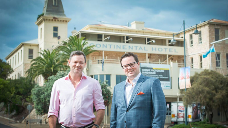 ▲ Nicholas (right) is the son of well-known Australian business leader Peter Smedley who chaired Arrium and Spotless, pictured with Julian Gerner (left) outside the Continental Hotel in Sorrento.