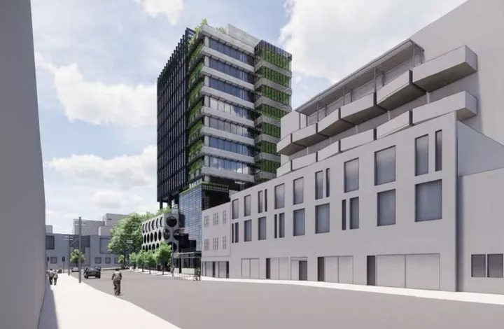 ▲ The Pellicano tower design in Fitzroy sits next to more traditional buildings.