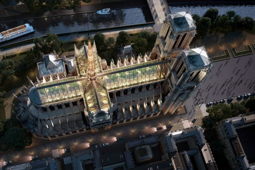 Miysis Studio has proposed classic and contemporary elements to create a new public space atop the cathedral