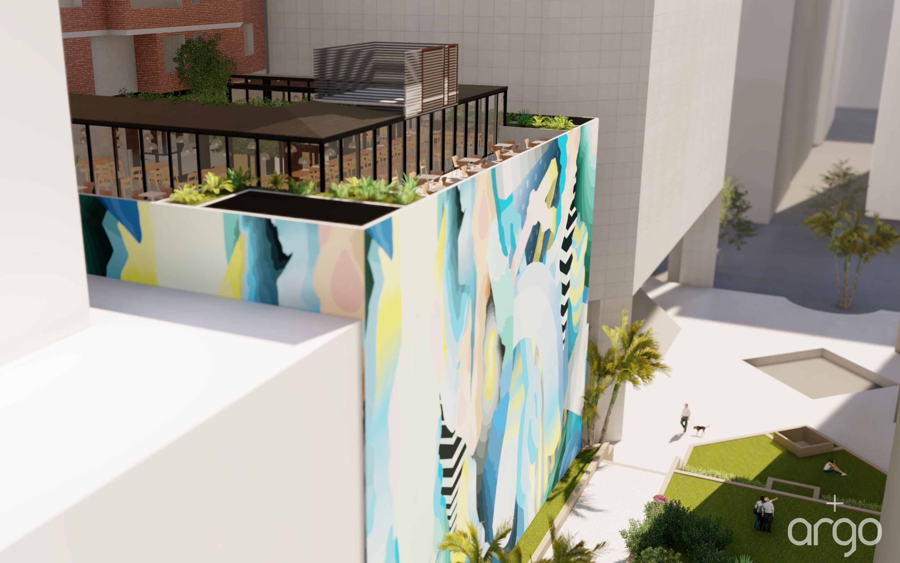 Local Brisbane artist Leans will create an art installation on the rear and side boundary walls.