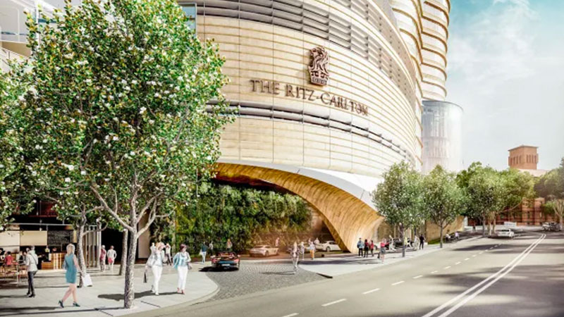 ▲ Concept images of the previously rejected Ritz-Carlton tower at The Star Sydney. Image: FJMT