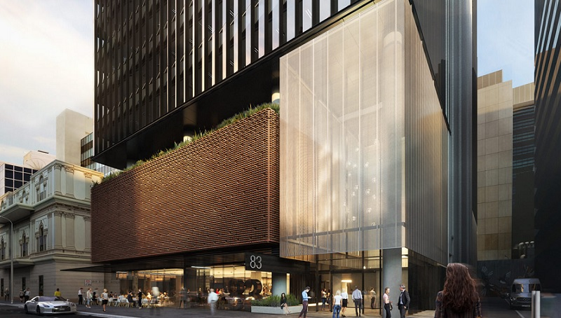 A render of an office building with a cafe on the ground floor and modern 20-storey building above