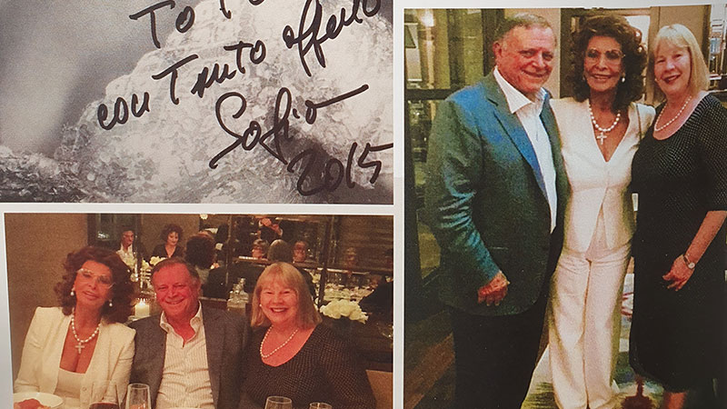 ▲ Perks of the job: Tarascio and his wife Christine with dinner guest Sofia Loren.