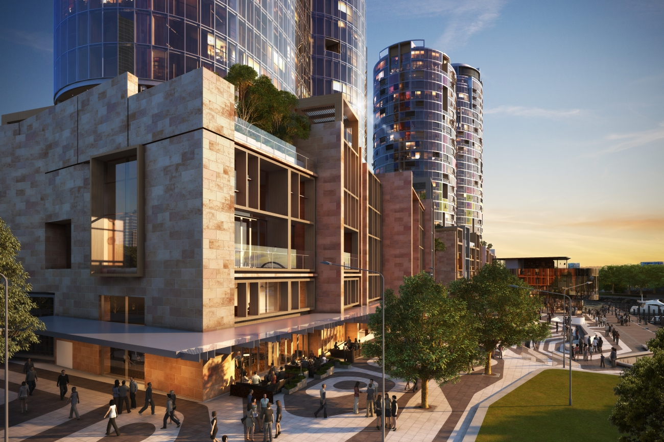At the heart of the transformation of the Elizabeth Quay precinct is 'The Towers', a 379-apartment mixed-use precinct