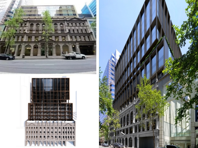 A composite image of the current 333 Kent Street, Sydney Property, new plans and latest renders. Image: WMK Architecture