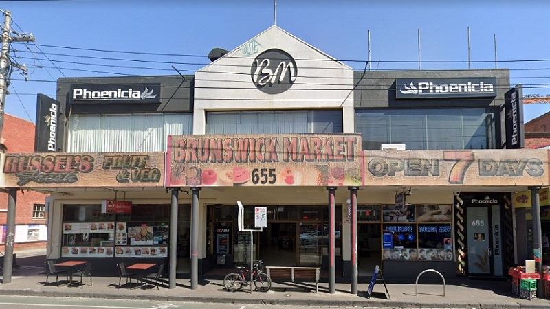Brunswick Market currently is the home of a fruit and vegetable store with a faded sign as well as a barber and the Phoenicia reception venue.