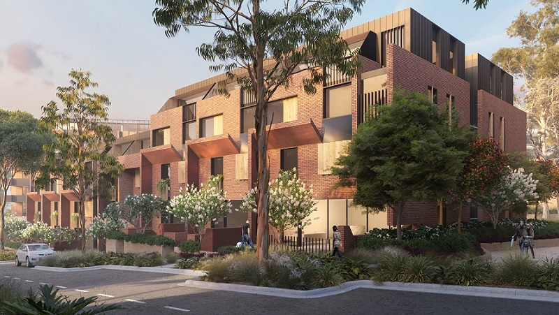 Artists impression of five, flat, brown-red brick towers in triangular formation at Castle Hill showground precinct.
