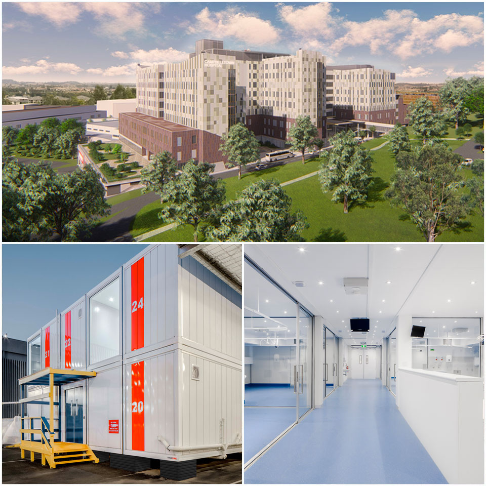 ▲ Campbelltown Hospital redevelopment (top), Monash Health Covid-19 Resurrection Unit (bottom left and right).