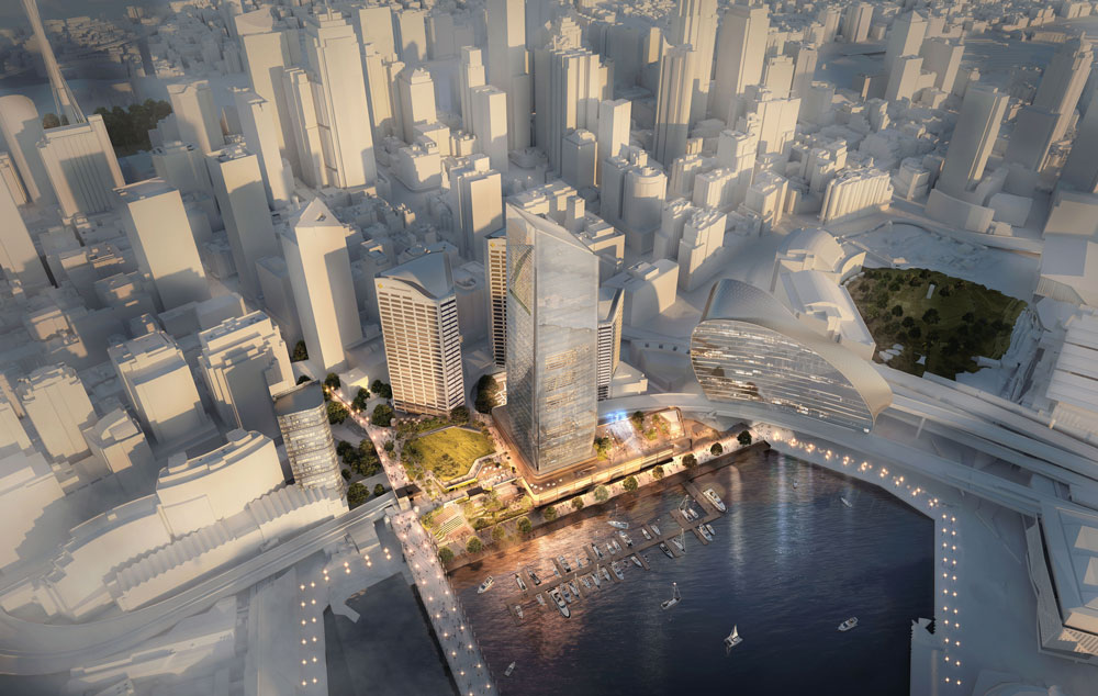 The proposed tower will rise 42-storeys (183 metres) and comprise up to 75,000sq m of office space.
