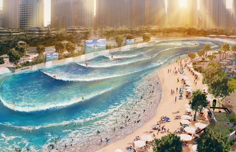 A proposed $35 million Endless Surf pool about 10km from Surfers Paradise with skyscrapers in the distance.