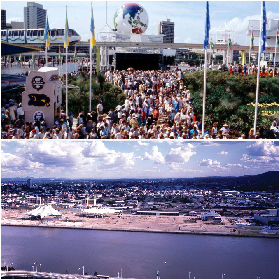Expo '88, where more than 40 countries were represented. South Bank circa 1980s while under development. Image: Queensland State Archives