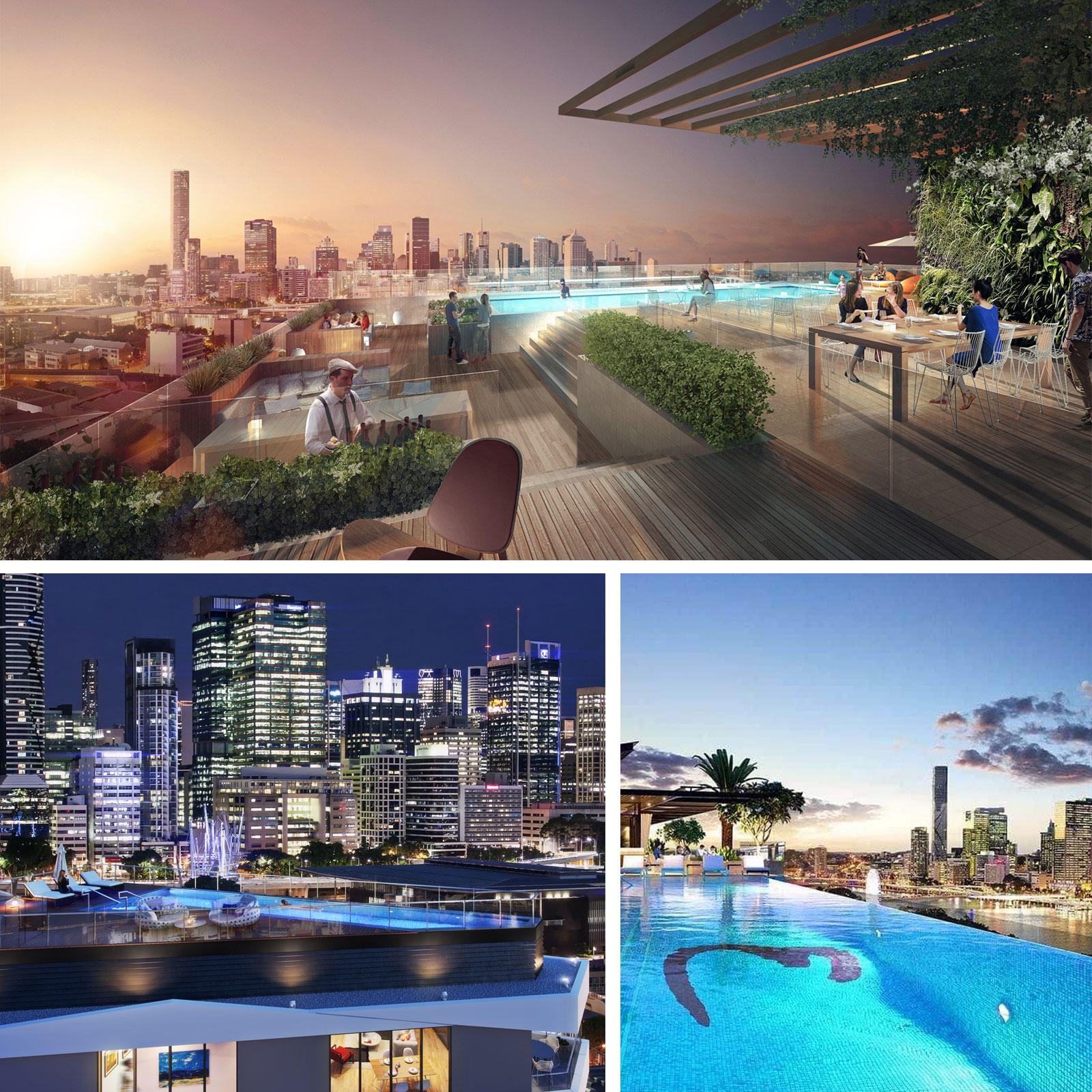 Pictured: Brisbane rooftop development including Aria's Melbourne residences and the Emporium hotel Southbank.