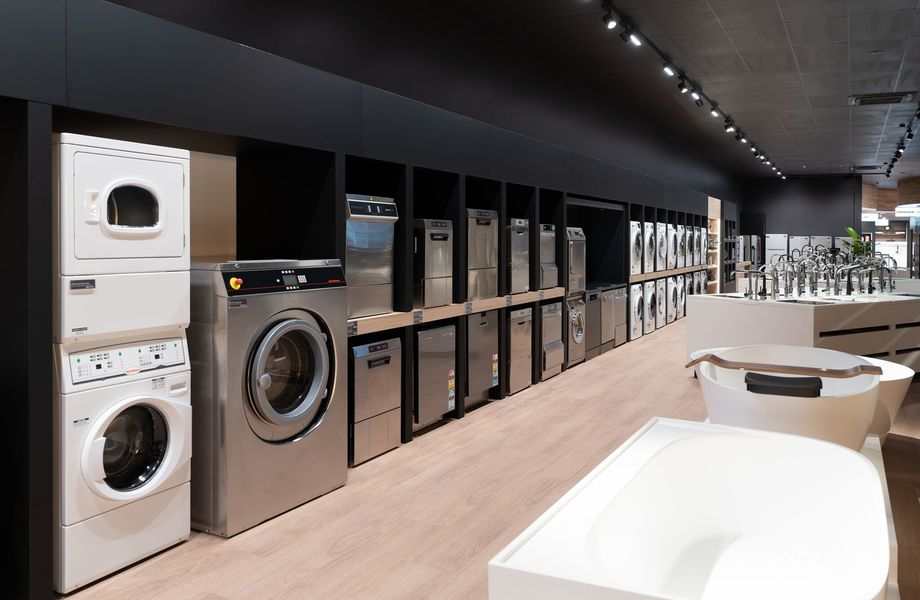 ▲ Commercial grade appliance display offering from brands Miele Professional, Smeg, Asko, Maytag, Speed Queen, Winterhalter, Classeq, Bromic and Skope.