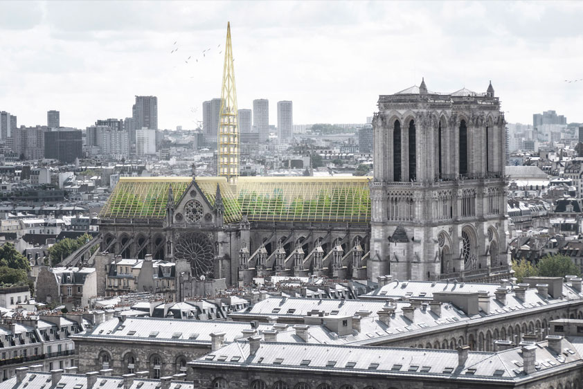 "Paris-based Studio NAB has proposed a giant greenhouse claiming that the rebuilt cathedral should be ""adapted to issues of our time""."