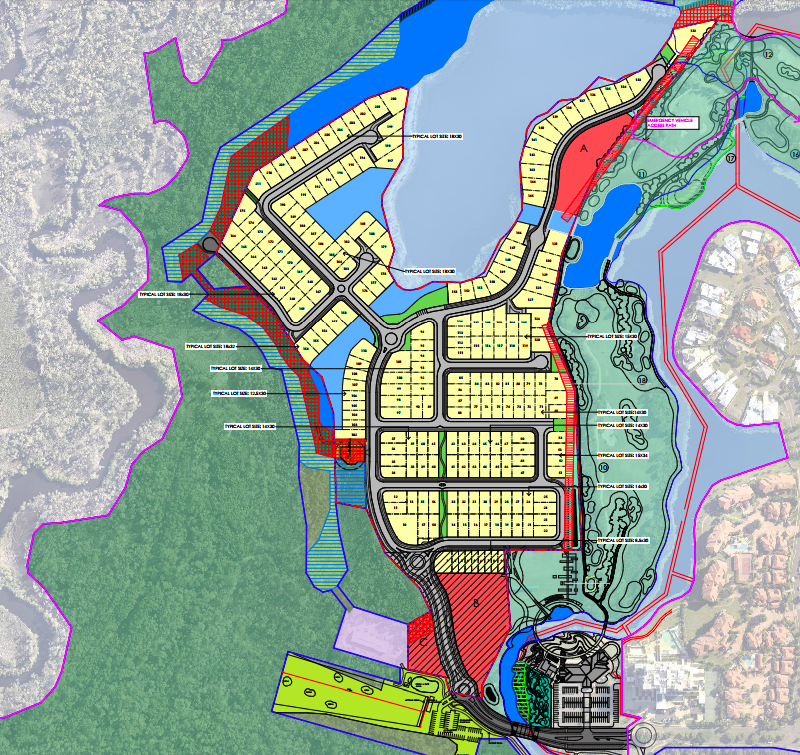 The approved land use plan for 259 residential lots.